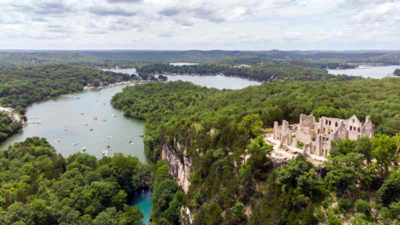 Aerial photo of Ha Ha Tonka State Park Castle Ruins at the Lake of the Ozarks, MO.