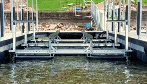New 17,000 lb side-mount boat lift installation at Lake of the Ozarks by LOTO Lift.